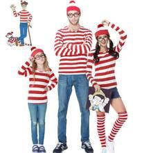 Pai-filho dos desenhos animados onde está wally waldo cosplay traje vermelho listra camisa + chapéu + óculos
