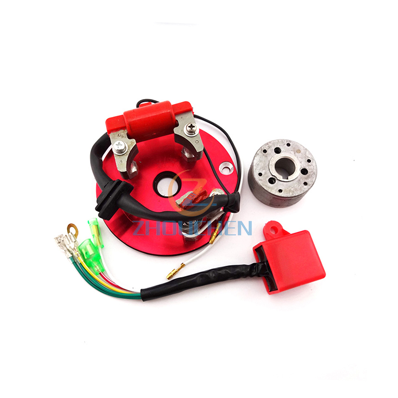 Red Racing Magneto Stator Rotor Ignition CDI Box Kit For <font><b>110cc</b></font> 125cc 140cc <font><b>Engine</b></font> Chinese <font><b>Lifan</b></font> YX Pit Dirt Bike Motorcycle image