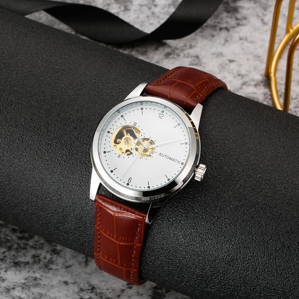 Minimalist Mechanical Watch Unisex 40mm Case Automatic Movement Unique Skeleton Watch Ladies Gold