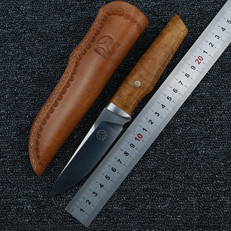 BOLTE Manual 14c28n Blade Fixed Blade Straight Hunting Knife Leather Sheath Wood Handle Camping Outdoor EDC Knives Tools