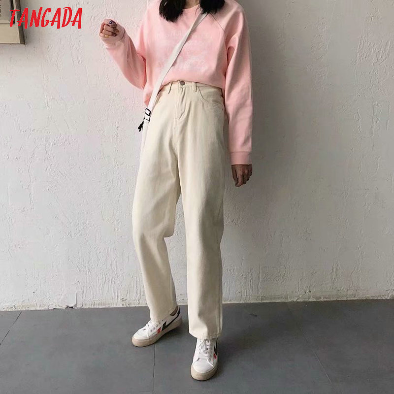 Tangada Summer Fashion Women Loose Beige Jeans Long Trousers Pockets Zipper Loose Female Elegant Denim Pants 7B05