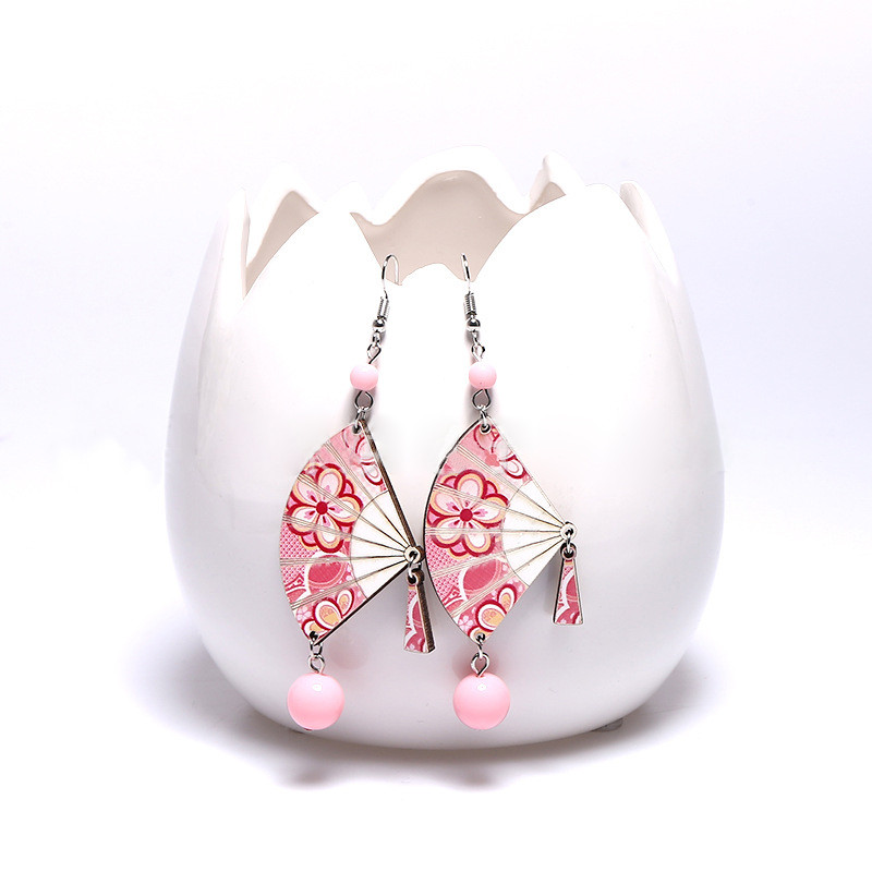 DoreenBeads Fashion Zephyr Series Earrings Colorful Cherry blossoms Japanese Style Symbols Jewelry For Women Accessories,1 Pair
