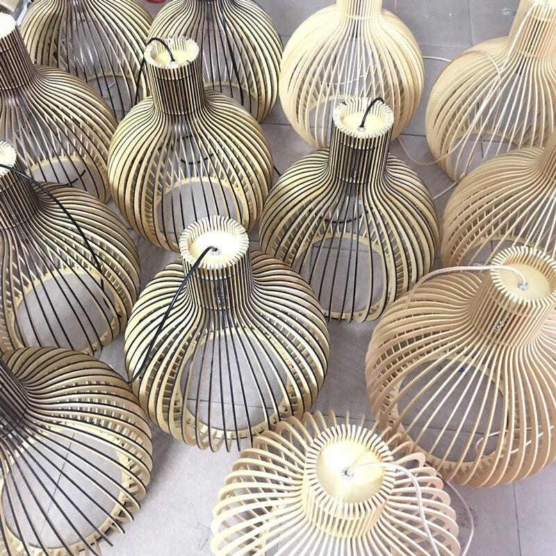 Modern Black Wood Birdcage E27 bulb Pendant light norbic home deco bamboo weaving wooden Pendant lamp - 6