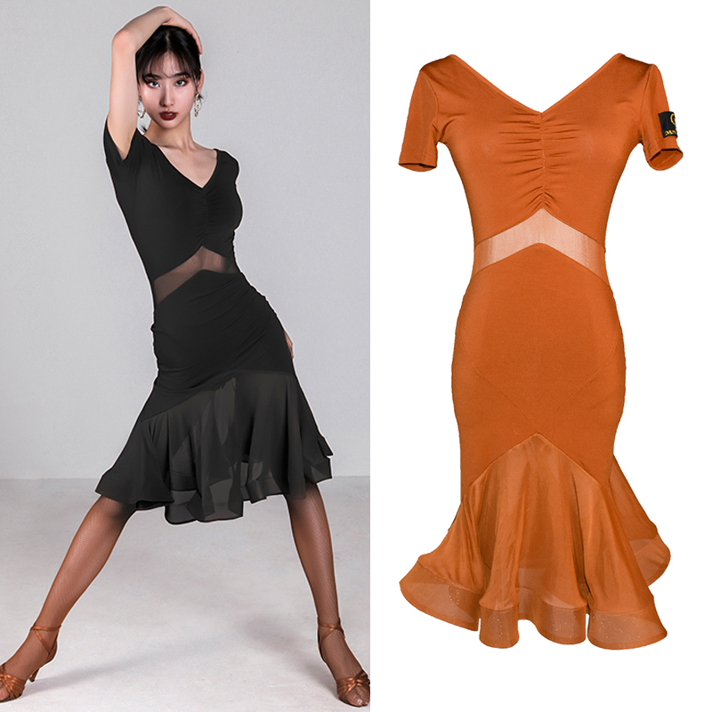 Latest Latin Dance Dress Adult Women Dance Dress 2019 Sexy Women Dance Wear Rumba Practice Dance Costume Latin Dresses BL2452