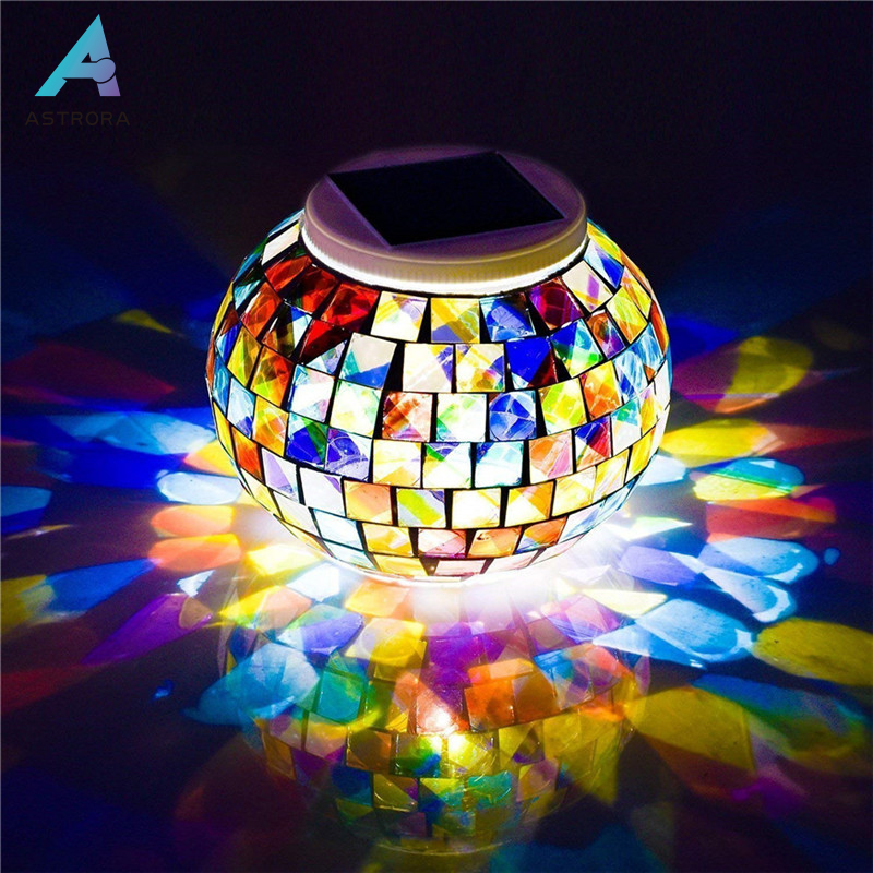 ASTRORA Color Changing Solar Powered Table Lights Mosaic Glass Ball Led Night Light for Patio Garden Table Lamps for Decorations