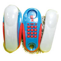 Children Pretend Play Intercom Telephone Toy Simulation Telephone Toy With Real Ringing Sounds Classic Toys For Kid-Blue + White