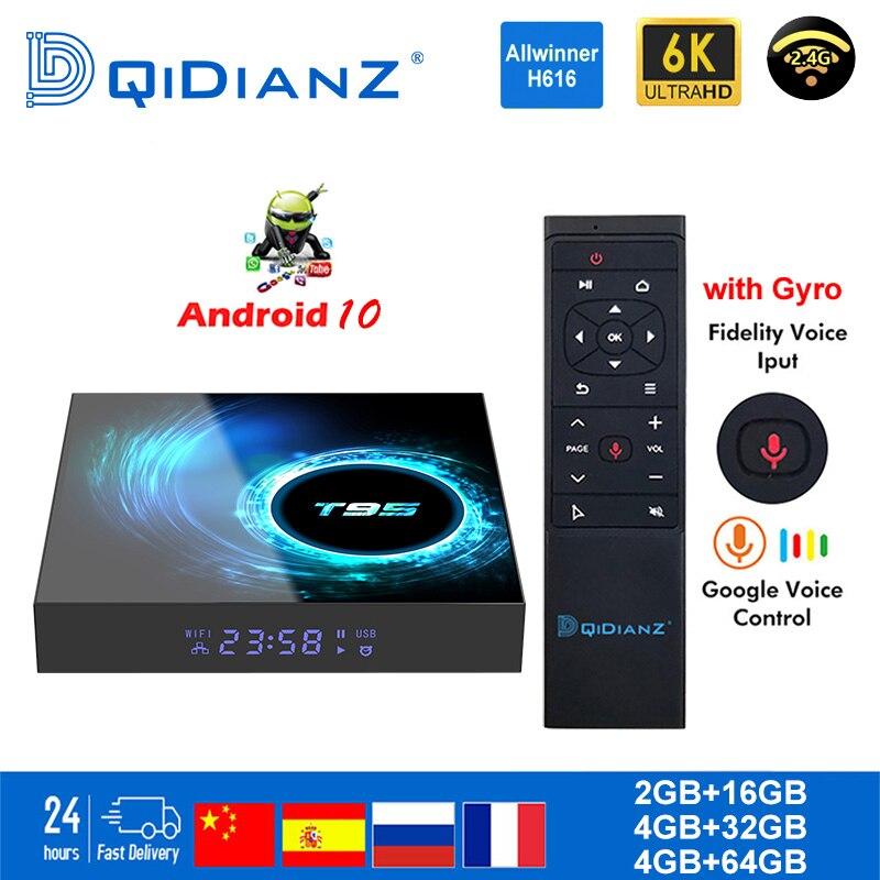 Smart TV BOX T95 Android 10 6K H616 Quad Core Netflix Media Player Play Store Free App Fast Set Top BOX X96Air PK HK1MAX H96