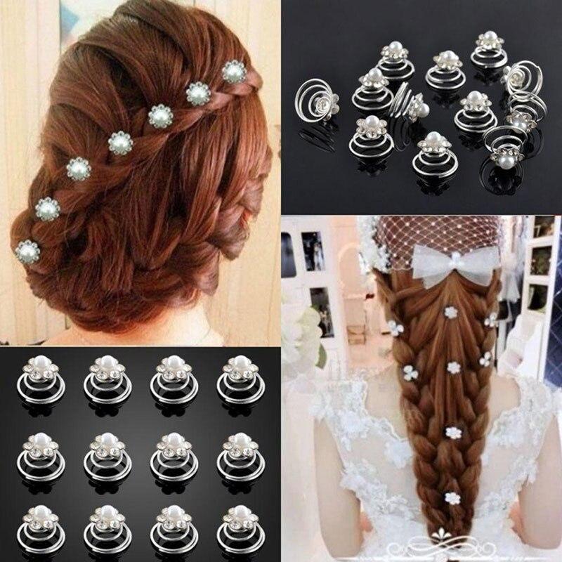 1pc Bridal Pearl Hair Clips Flower Spirals Crystal Twist Pins  Women Wedding Accessories