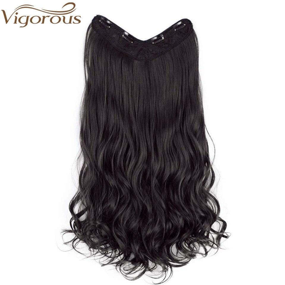 Vigorosa 22 ''V-Parte Curly Synthetic Hair Extension Clipes em Uma Parte 4 Clips Postiços para As Mulheres 3/4 cabeça cheia de Cabelo Falso