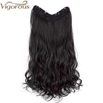 Vigoureux 22 ''v-part bouclés synthétiques extensions de cheveux Clips en une seule pièce 4 Clips postiches pour femmes 3/4 pleine tête faux cheveux