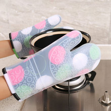1pc Silicone Plus Cotton Lengthening Microwave Non-slip Printing Gloves Insulated Kitchen Oven Waterproof Heat Resistant