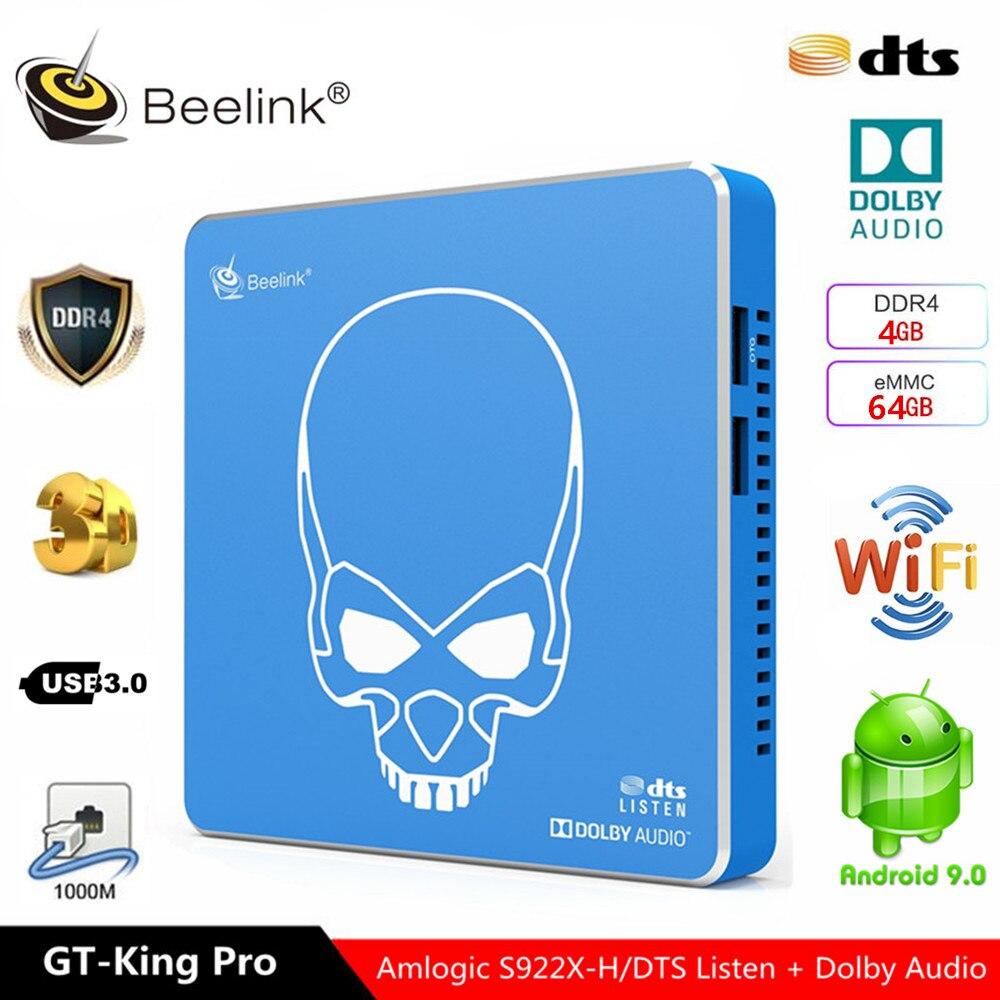 Beelink – boîtier Smart TV GT King pro S922X-H, 4 go 64 go, certifié Google, Hi-Fi, Doby Music, Android 9.0, IPTV, télécommande vocale