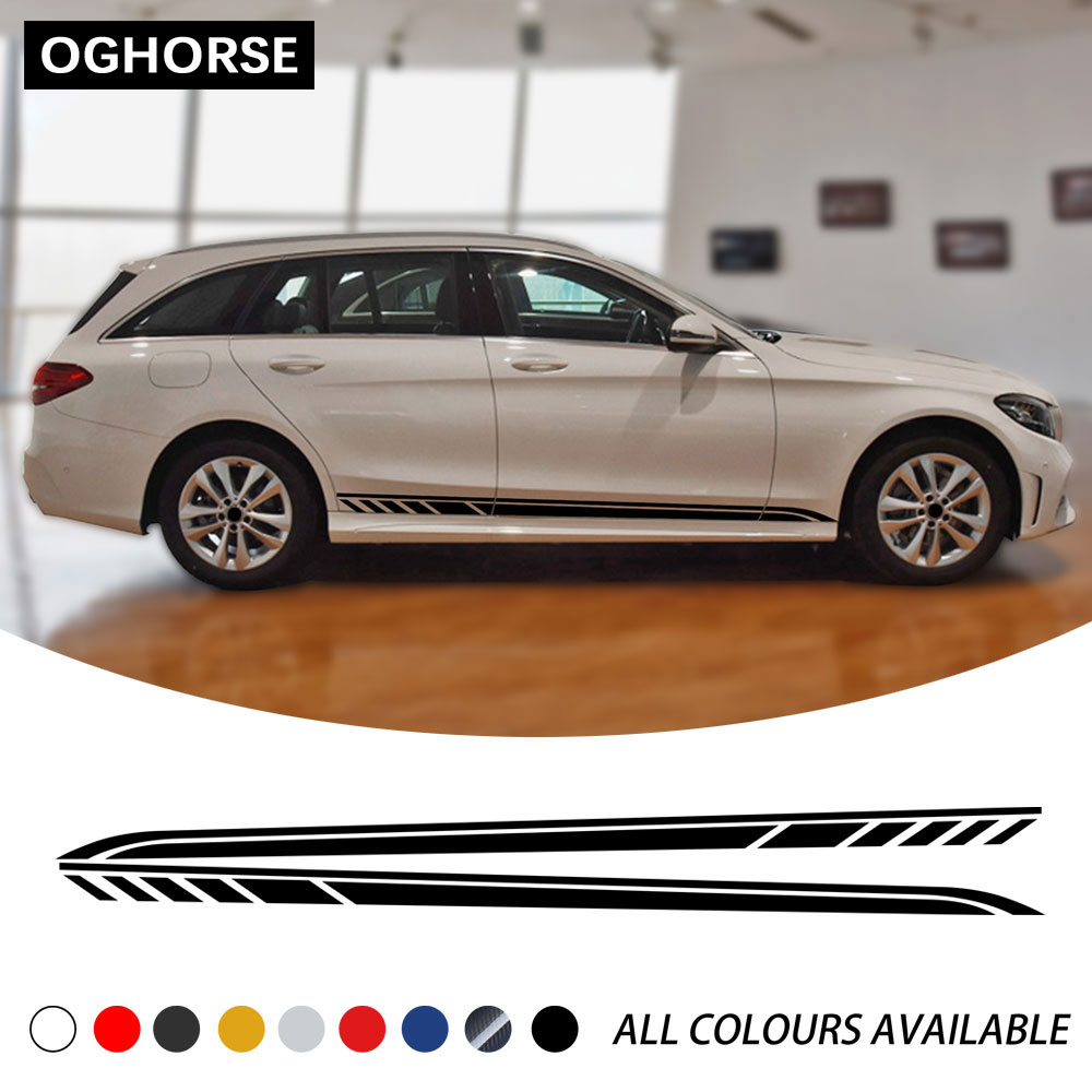 2 Pcs Car Door Side Stripes Sticker Decal <font><b>For</b></font> <font><b>Mercedes</b></font> Benz C Class <font><b>2019</b></font> Estate W205 C63 C43 C180 <font><b>C200</b></font> C300 AMG Accessories image