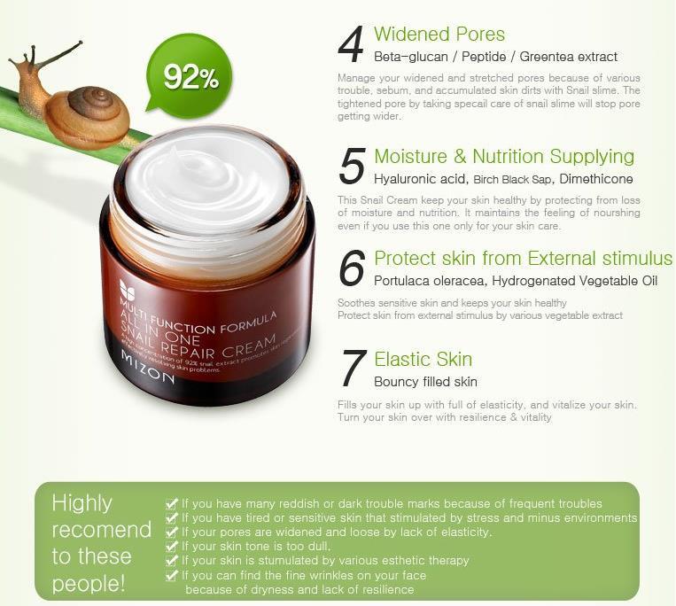 MIZON All In One Snail Repair Cream 75ml Facial Cream Face Skin Care Whitening Moisturizing Anti Wrink Korean Cosmetics 3