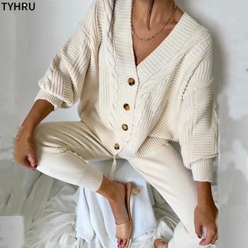 TYHRU Women Knitting 2-pieces sweater Suit Hemp Flower V-neck Single-Breasted cardigan + Pants lady winter sweater Set 1