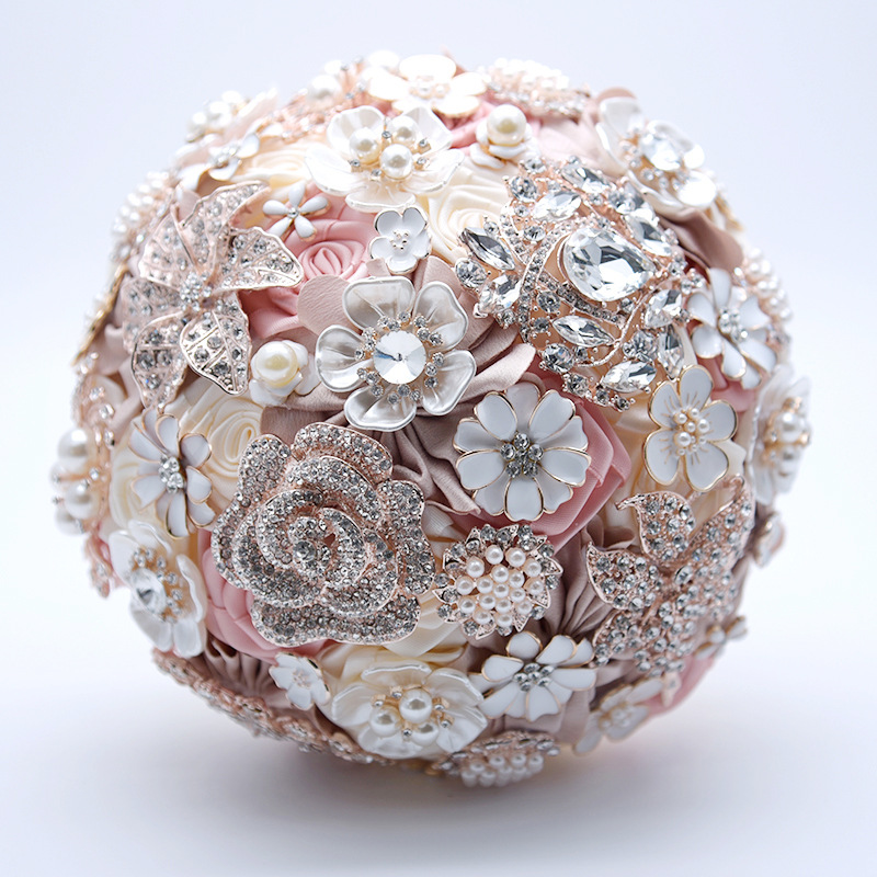 19CM Rose Wedding Artificial Flower Bouquet Silk Luxury Holding Fake Flowers Valentine's Day Home Decoration Accessories Gift - 3