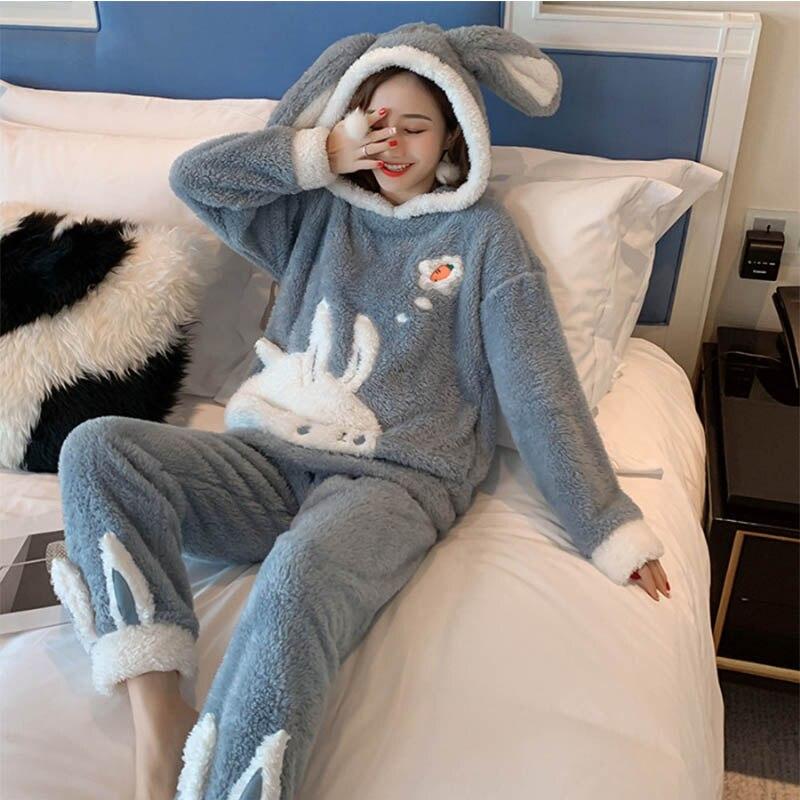 Women Pyjamas Sets Warm Coral Velvet Pajamas Suit Flannel Long Sleeve Pyjamas Femme Cartoon Rabbit Pijama Home Clothes Sleepwear