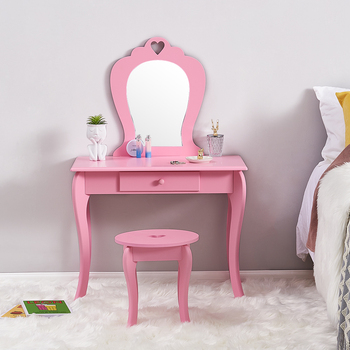 Little Girl Dresser Children Bedroom Furniture Pink Princess Style Small Dressing Table Suit 3-6 Year Kids Ship To Europe
