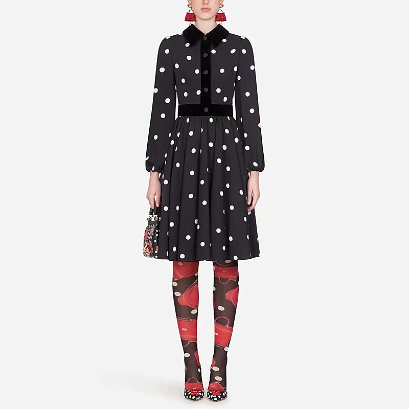 Runway High Quality Autumn New Women'S Fashion Party Casual Workplace Sexy Vintage Elegant Chic Stitching Velvet Dot Midi Dress