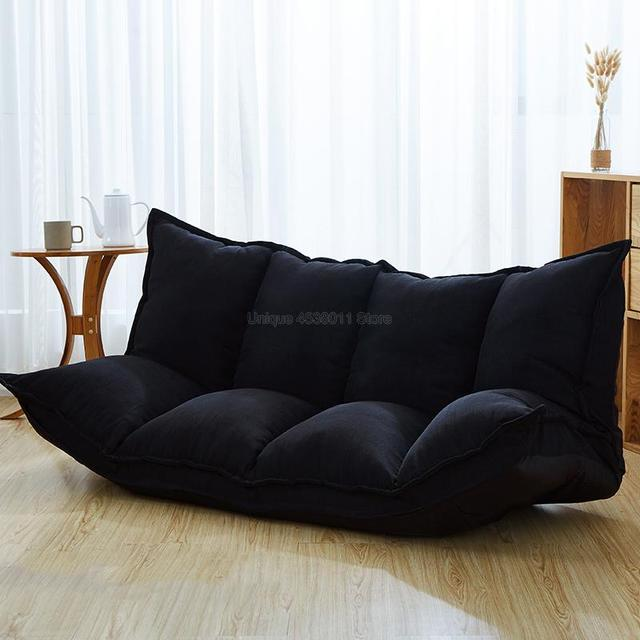 Linen Fabric Upholstery Adjustable Floor Sofa Bed Lounge Sofa Bed Floor Lazy Man Couch Living Room Furniture Video Gaming Sofa 3