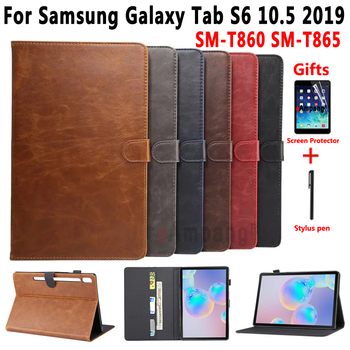 Leather Case for Samsung Galaxy Tab S6 10.5 SM-T860 SM-T865 T860 T865 Cover Soft Smart Case for Samsung Tab S6 10.5 +Film+Pen for samsung galaxy tab s6 10 5 sm t860 t865 case with pen holder pc silicone 3 layers anti fall tablet protector cover funda