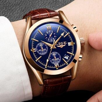 цена на 2019 Fashion Leather Waterproof Quartz Watch For Mens Watches LIGE Top Brand Luxury Creative Dial Date Clock Relogio Masculino