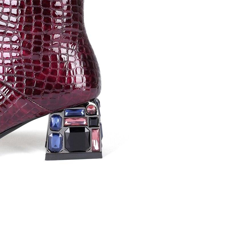 Intention originale nouveau Design pierre Grain cristal talons carrés Sexy genou bottes hautes femme noir vin rouge croix liée mode chaussure - 4