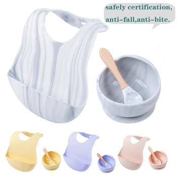 1 Set Silicone Bibs Bowl Sets Baby BPA Free Silicone Chewing Food Grade Newborn Accessories Teeth Baby Feeding Supplies