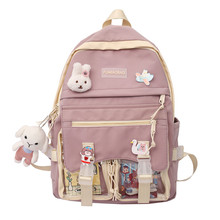 2021 Student Backpack Canvas Large Capacity Sweet Color For Girl School Supplies Tutorial Bag Korea Stationery