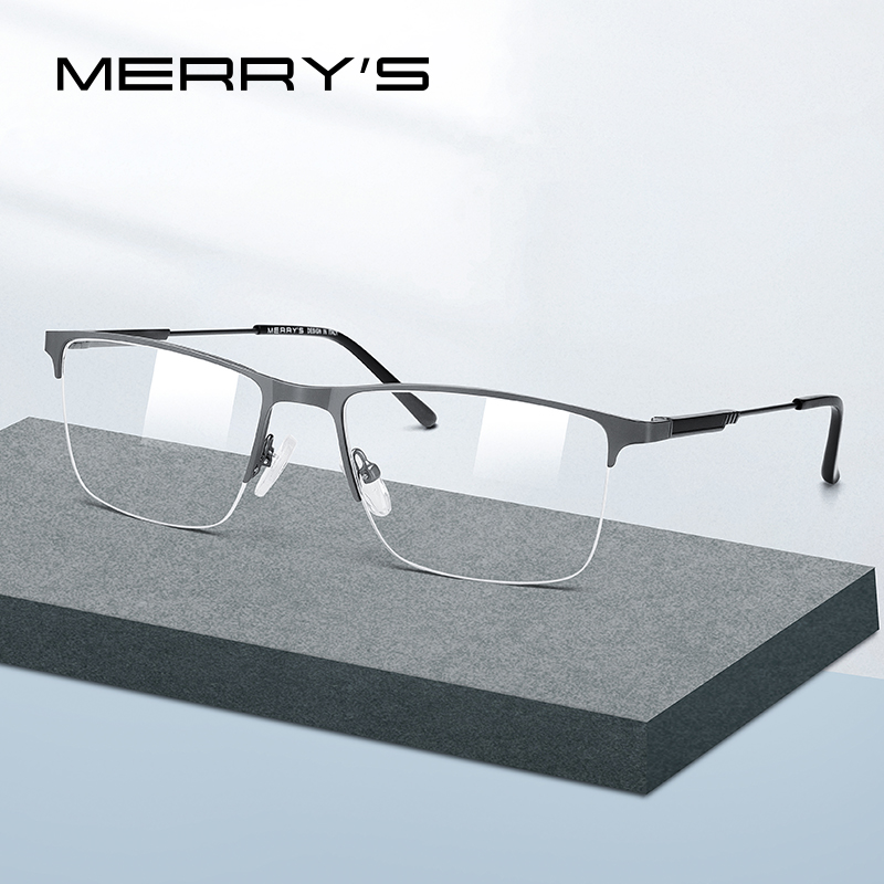MERRYS DESIGN Men Titanium Alloy Glasses Frame Half Optical Frame Myopia Prescription Optical Eyewear S2176