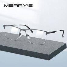 MERRYS Дизайнерские мужские очки из титанового сплава , оправа полуоптическая оправа для близорукости, оптические очки по рецепту S2176