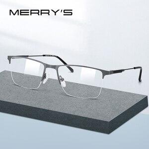 Image 1 - MERRYS تصميم الرجال سبائك التيتانيوم النظارات الإطار نصف البصرية قصر النظر وصفة طبية النظارات البصرية s2 176