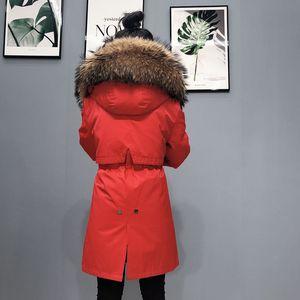 Image 4 - OFTBUY Echt Pelzmantel Super Große Waschbären Pelz Kragen Kapuze Winter Jacke Frauen Parka Natürliche nerz Liner Dicke Warme abnehmbare