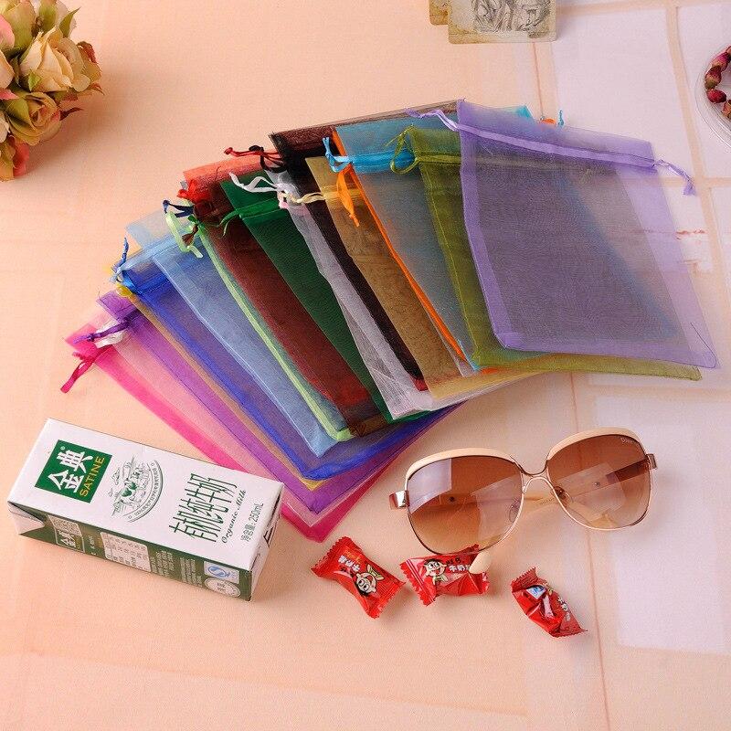 100 шт.-супермолния для сумки 7x9 см для хранения Ювелирная упаковка из органзы сумки Свадебная вечеринка украшения холст мешки подарка красоч...