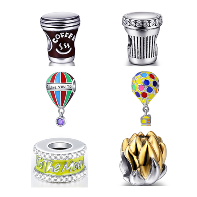 NEW Arrival Coffee cup The balloon Original I Love You Charms Beads Fit Authentic European Bracelet Sterling-Silver-Jewelry Gift