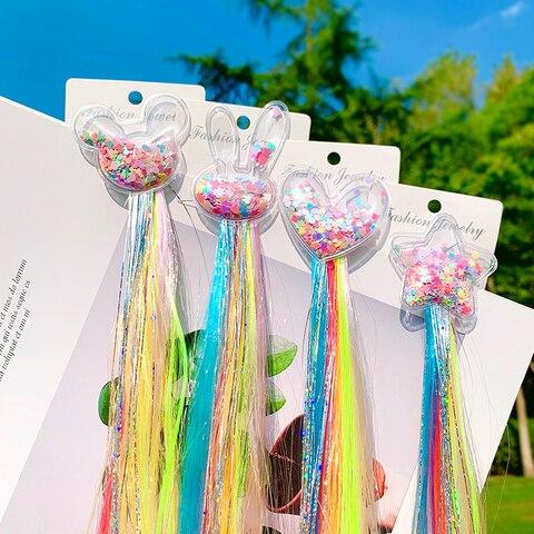 Girls Cute Colorful Wig Cartoon Unicorn Hair Clips Sweet Princess Hair Ornament Headband Hairpins Kids Fashion Hair Accessories Multan