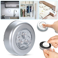 3 leds Touch sensor Ceiling Night Light LED Battery Powered Wireless Night Light Stick on Tap car boot Lamp Wardrobe Lights