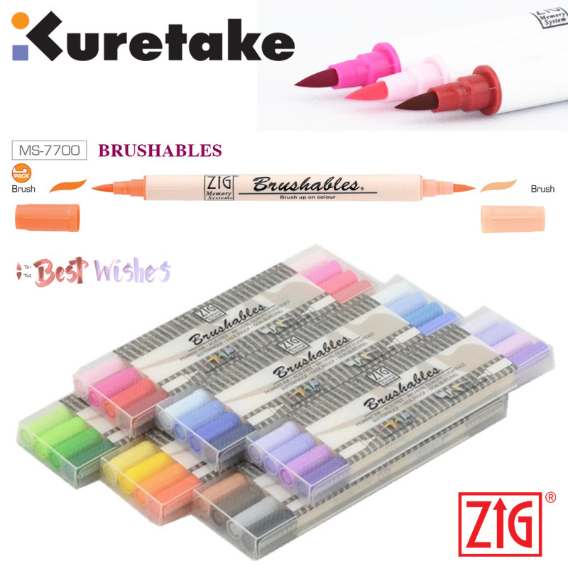 ZIG Kuretake MS-7700 Waterproof Brushables Brush Up On Colour Twin Tip Paint Brush 4Pcs Marker Pen Set Japan