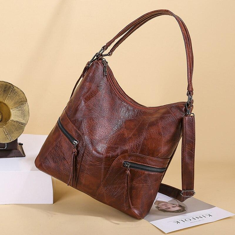 2019 Big Square Women Hobos Bags Female Handbags Designer Brand Famous Brown Leather Large Totes Box Bag For Ladies Shoulder Bag