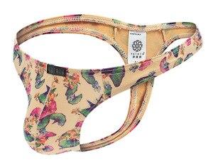 Image 4 - Tanga con estampado de hojas de Ginkgo para Hombre, Ropa Interior, Sexy, seda de leche, bolsa convexa en U, Tangas y cuerdas, 6 unidades