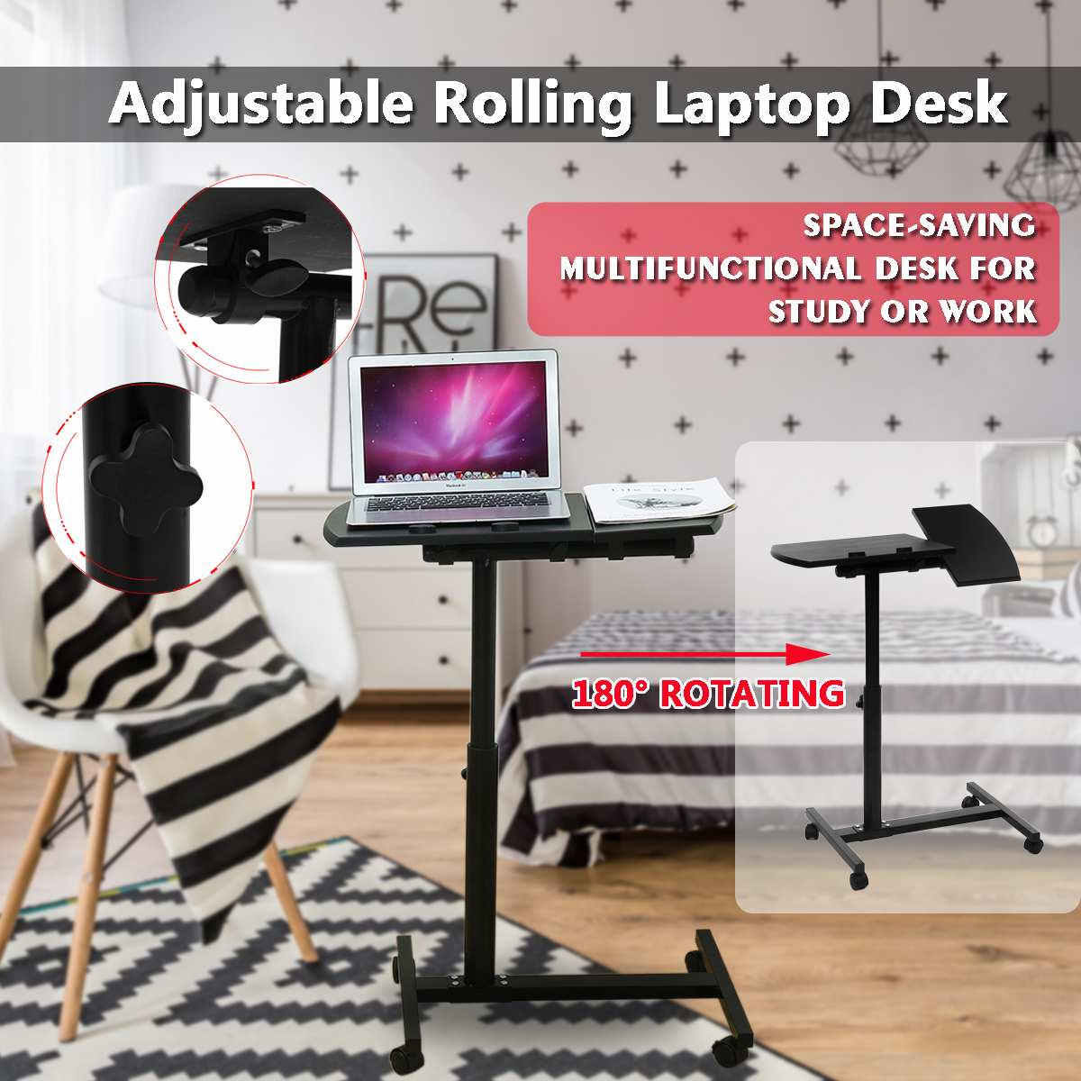 Laptop Stand Rolling Cart Desk Adjustable Height  ComputerTable Desk Bed Sofa Tray Rolling Portable Notebook Desk With Wheels
