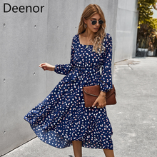 Deenor Blue Polka Dot Dress Women Long Sleeve Women Spring Dresses Chic Elasticity Waist Slim Vintage Evening Party Vestidos