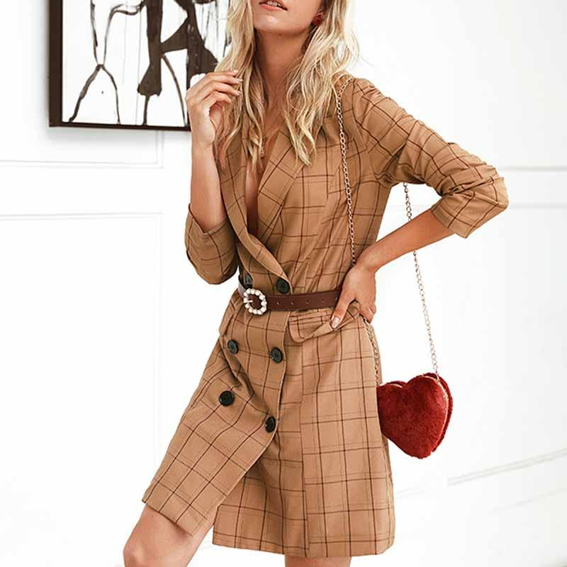 Aartiee Long sleeve Elegant OL blazer dress 2019 Autumn winter Fashion Button Blazer jacket women Khaki plaid Streetwear blazer