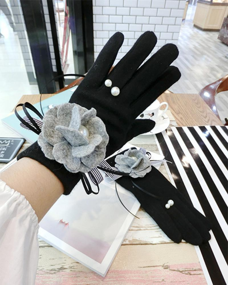 Grey Woolen Cloth Flower Bow Cashmere Gloves Korean Fashion Winter Warm Pearl Ring Touch Screen Finger Gloves Women