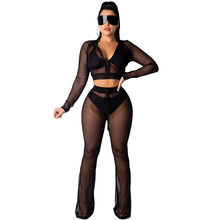 Black See-through Mesh Tweedelige Set vrouwen Trainingspak Casual Hooded Rits Crop Top en Broek Sets Sexy night Club Party Outfits(China)