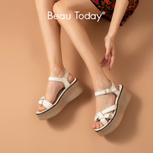 BeauToday Gladiator Sandals Women Genuine Cow Leather Buckle