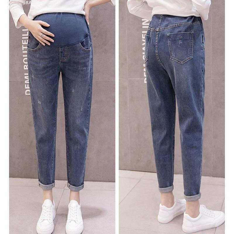 Vintage Boyfriend Denim Jeans Maternity Haren Pants Loose Trousers For Pregnant Women Pregnancy Jeans High Waist Trousers Pants