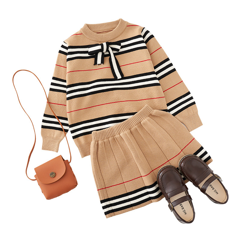2021 Autumn New Arrival Girls Knitted 2 Pieces Suit Top+skirt  Kids Clothing  Girls Clothing 3