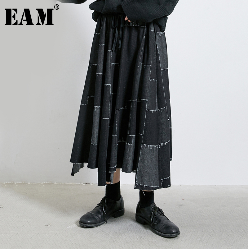 [EAM] High Elastic Waist Black Print Burr Asymmetrical Patch Half-body Skirt Women Fashion Tide New Spring Autumn 2020 1R275