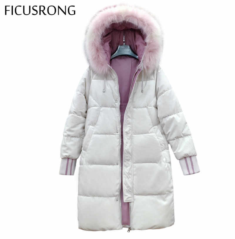 FICUSRONG Pleuche Fabric Winter Jacket Women Causal Down Cotton Padded Jacket Warm Thick Big Fur Collar Ladies Long Down Parkas